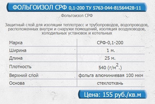 Фольгоизол СРФ свойства