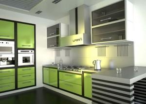 Кухня - зеленый цвет в интерьере