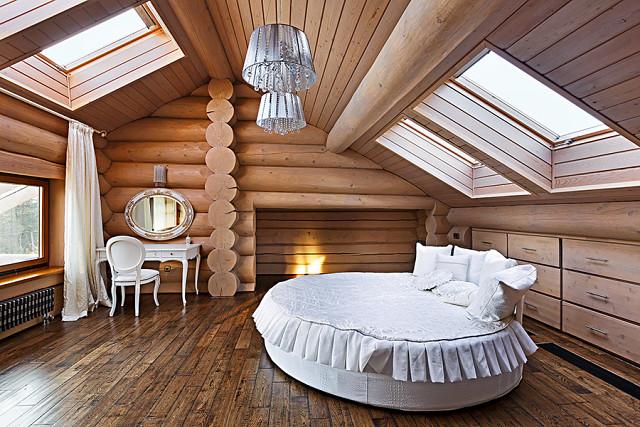 Вангсвик - круглая кровать Икеа в интерьере фото