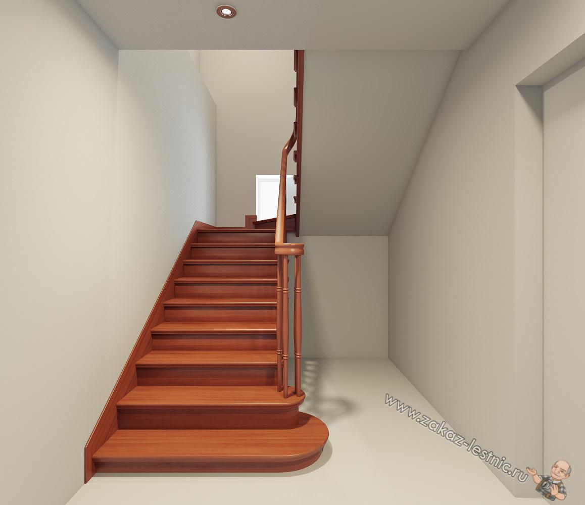 Однотонная лестница из ясеня
