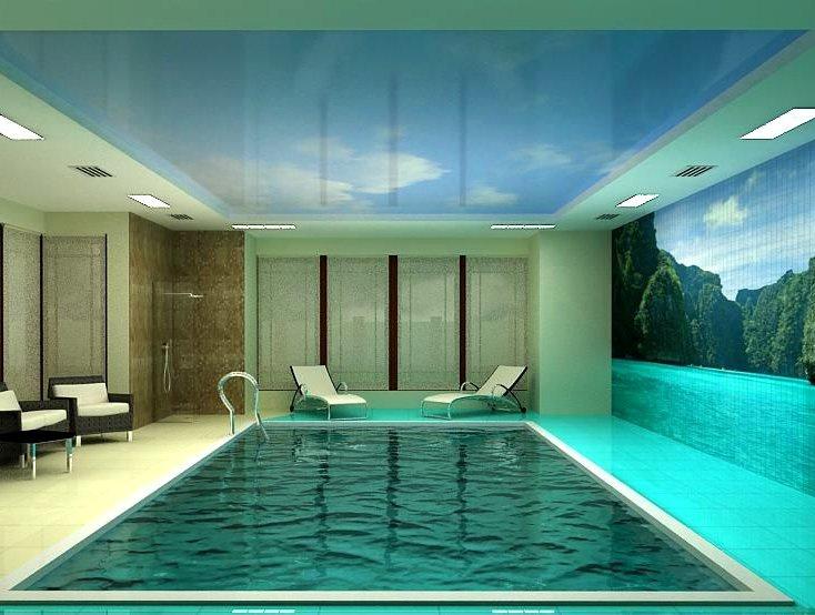 Натяжные потолки для бассейна дизайн проект