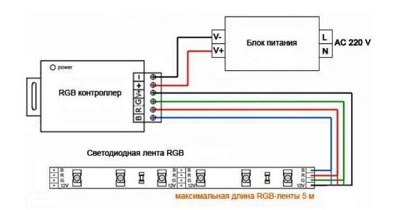 Схема подключения 5 метров