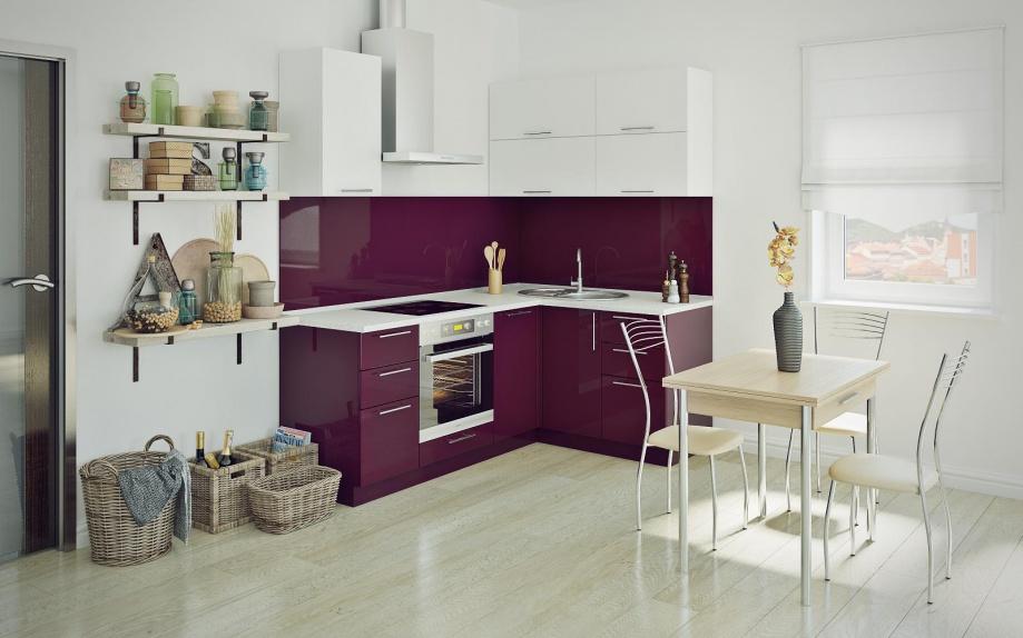 Бордовая угловая кухня на заказ