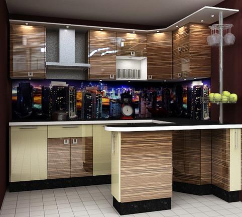 Кухня с барной стойкой разных цветов